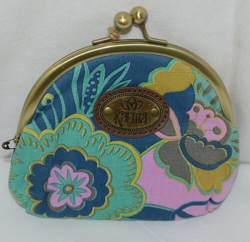 Karma Brand KA110330 Navy Purple Color Floral Lock Coin Purse With Card Slots