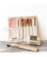 Travel Coconut Kit I Reusable Cutlery Set + Loofah Sponge + Bamboo Tooth... - £19.56 GBP