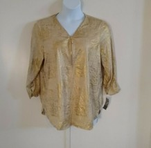 JM Collection Women's Ruched Cuffs 3/4 Sleeve Zip Gold Top Size XL - $41.87