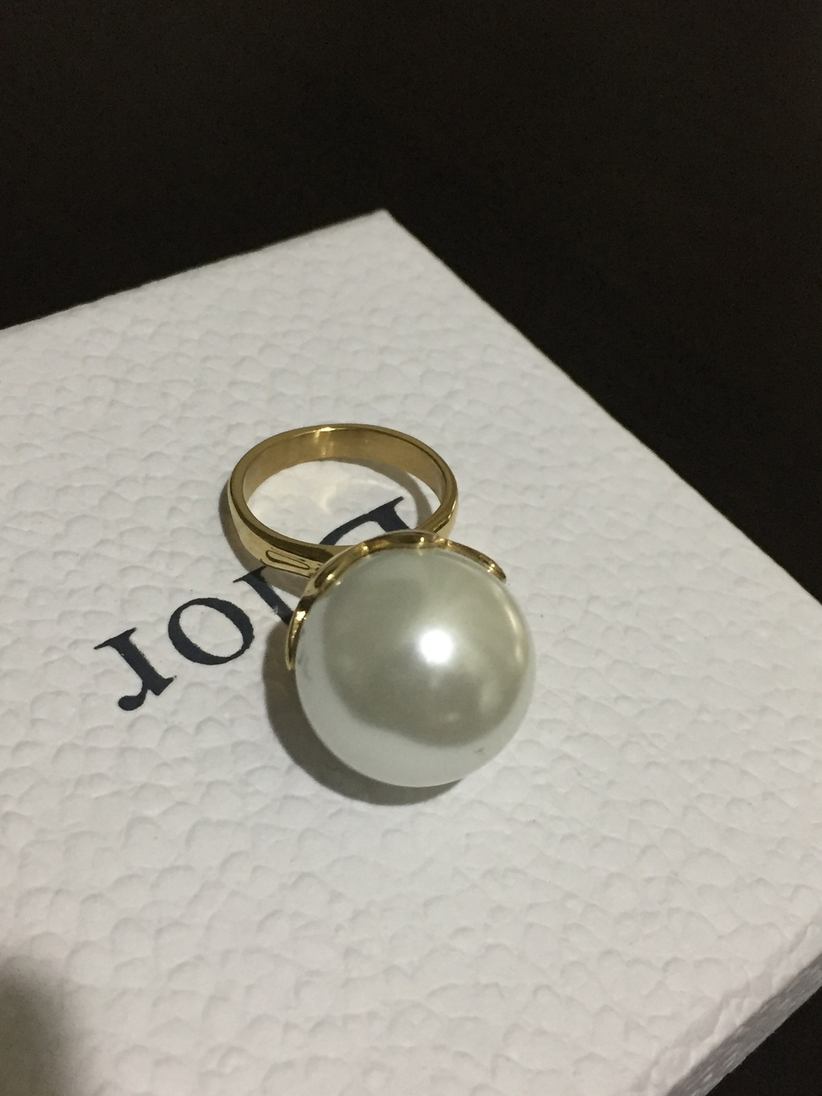 AUTH Christian Dior Mise En Dior Tribal Limited Edition Lotus Large Pearl Ring