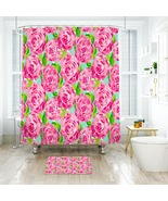 Flower Lilly First Impression Shower Curtain Waterproof & Bath Mat For B... - $15.30+