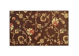 "Kapaqua Rubber Backed Mat 18"" x 31"" Brown Floral Doormat Accent Non-Slip... - $17.76"