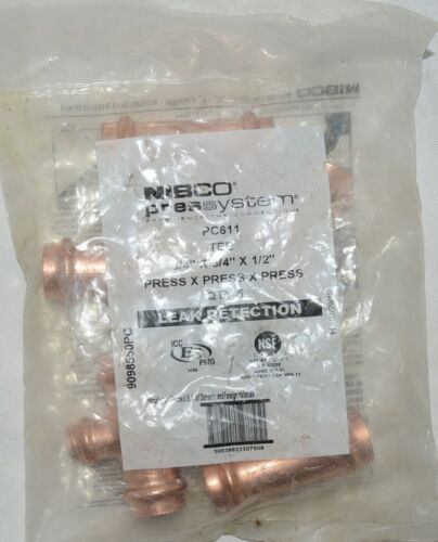 Nibco Press System PC611 3/4 Inch Ends X 1/2 Inch 9098550PC Leak Detection PK5