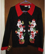 Ugly Black Red Glitter Snowman Party Cardigan Christmas Sweater Size Me... - $39.99
