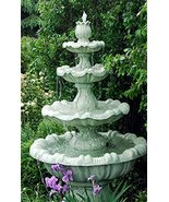 Continental Craft 8' Calypso Cast Stone Concrete 4-Tier Outdoor Garden W... - $2,476.48