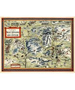 Vintage Pictorial Map White Mountains New Hampshire Wall Art Poster Prin... - $12.87+