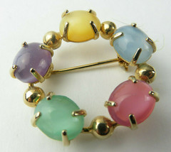 Vintage Retro Brooch Pin Gold Tone Round Hoop Pastel Colored Glass Beads... - $15.00
