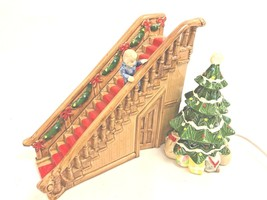 Department 56 Lit Christmas Tree Staircase w/ Boy Musical Here Comes San... - $174.99