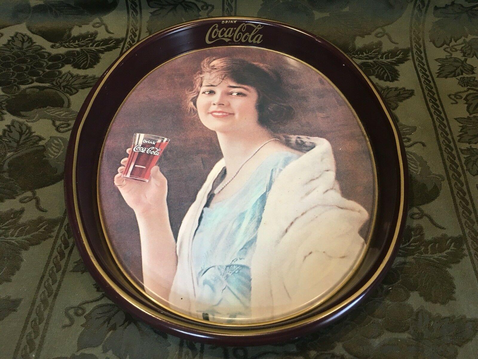 Vintage Coca Cola Collectible Metal Restaurant Serving Drink Tray 1983 Retro USA - $13.71