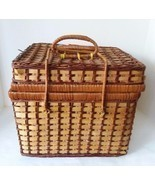 4 Person Set Wicker Hamper Picnic Basket With Flatware Plates Cups - £19.91 GBP