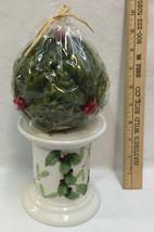 Candle Holder Pillar Pedestal Mistletoe Holly Berry Christmas Ceramic Lot 2 - $19.79
