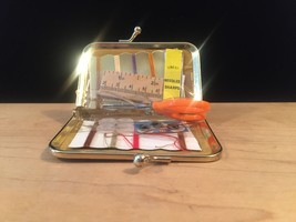Vintage 60s mini sewing kit with gold snap closure image 5