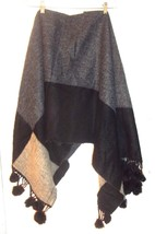Reversible Black and Gray Wool Blend Pom Pom Poncho One Size Fits All 45... - $47.49