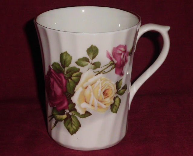 Luxford Fine Bone China Mug Red Yellow Roses Coffee Tea