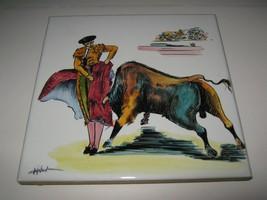 """Vtg Tile Ceramic Hand Painted Spain 8"""" Bullfighter Matador Bull Trivet F... - $12.86"""