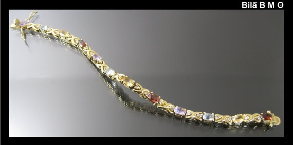 Vintage Genuine MULTI GEMSTONE BRACELET in Gold over Sterling Silver