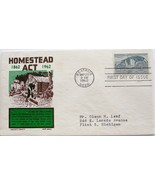 May 20, 1962 First Day of Issue, Ken Boll Cover, Homestead Act #15 - $1.73