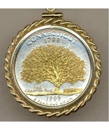 State of Connecticut, 2-Toned, Gold on Silver, Quarter Pendant Necklace - $132.00