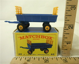 Lesney Matchbox #40 Hay Trailer w/ Vintage E Type Original Box MB 40 Unused - $27.78