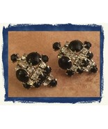 VTG 50s' Black Cabochon Clear Rhinestones Screw Back Cluster Costume Ear... - $17.28