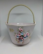 Lefton China Hand Painted Pastel Pink Porcelain Bucket w/ Bouquet of Flo... - $24.97