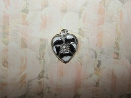 Vintage Sterling silver enameled puffy heart charm-BLACK & WHITE pansy - $19.00