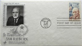 September 16, 1962 First Day of Issue, Art Craft Cover, Sam Rayburn #21 - $1.49
