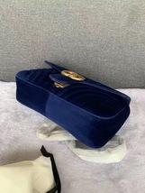 NEW Authentic GUCCI MARMONT MEDIUM ROYAL BLUE VELVET FLAP BAG  image 7