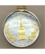 State of Maryland, Gold on Silver, Quarter Pendant Necklace, Gold Filled... - $85.00