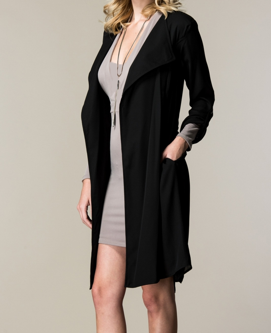 Black French Style Trench Coat, Lightweight Trench, Open Lapel Coat, Dress Coat
