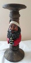 African American Black Santa Christmas Pillar Candle Holder Carved Wood ... - $24.75