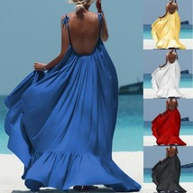 Women Boho Maxi Solid Sleeveless Long Backless Dress Evening Party Beach... - $16.82+