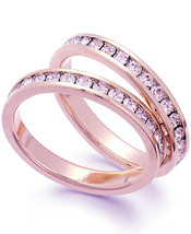 Charter Club Rose Gold Tone Duo Glass Stone Crystal Pave Fashion Ring New in Box