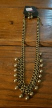 Paparazzi Short Necklace & Earring set (new) #616 BRASS CHAIN & BEADS - $7.61