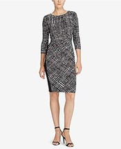 Ralph Lauren Dress Sz 8 Black Cream Printed Sheath Business Casual Party... - $59.35