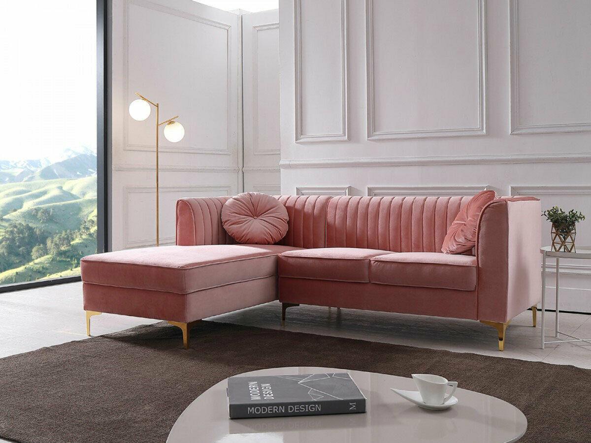 HAYWARD Modern Living Room Furniture Pink Velvet Sectional ...
