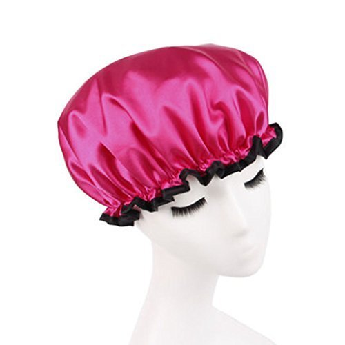 Stylish Design Waterproof Double Layer Shower Cap Spa Bathing Caps, Rose