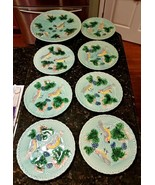 Vintage West German Zell Majolica Blue Birds Grape Vines 7 Plates 1 Plat... - $324.90