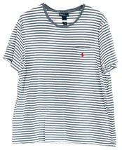 Polo by Ralph Lauren Steel Blue & White Pocketed Striped Short Sleeve Shirt L