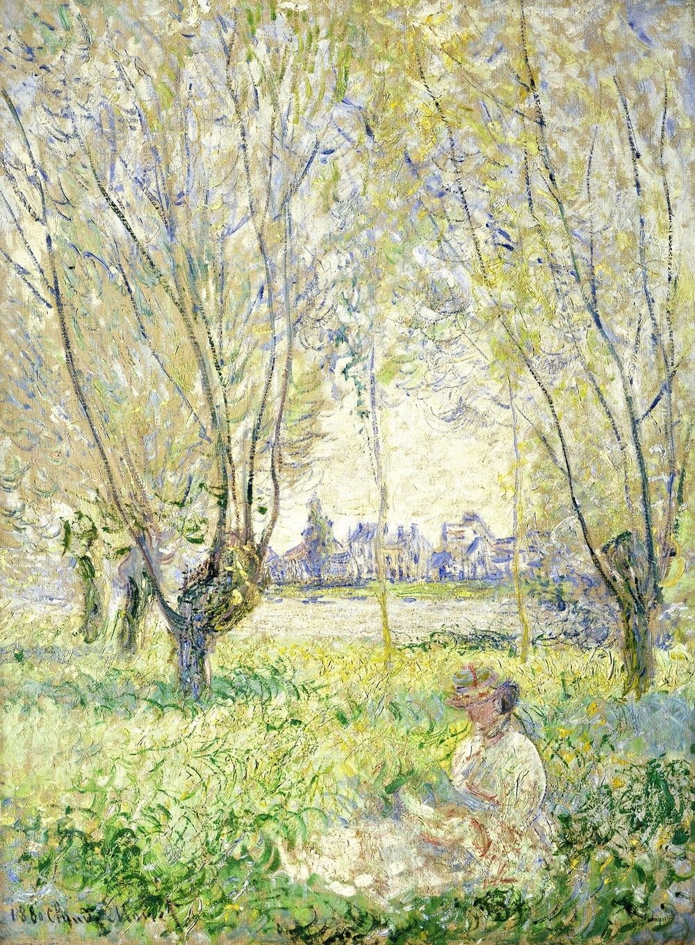 Woman Seated under the Willows Painting by Claude Monet Art Reproduction