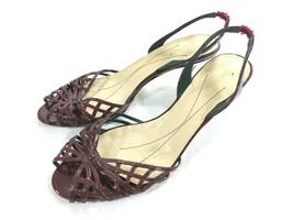 Kate Spade New York Burgundy Open Toe Slingback Heels 7.5 B Made in Italy - $28.01