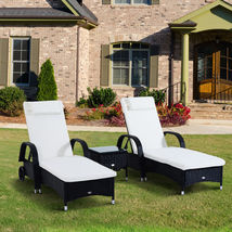 Outdoor 3pc Rattan Sun Lounger Adjustable Recliner Pool Deck Day Bed Table Black image 8