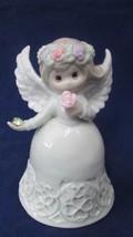 "Vintage Ganz Birthday August Angel Girl Bell Porcelain Peridot 4.5"" tall - $14.85"
