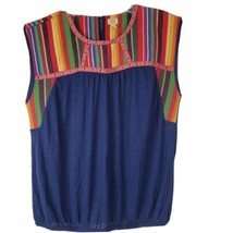 True Craft Womens Size XL Southwestern Spanish Blue Multicolor Pullover Top - $25.72