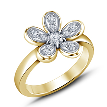 Women's 14k Yellow Gold Plated 925 Silver Round Cut White CZ Fancy Flower Ring - $61.77