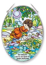 Amia Precious Moments Suncatcher, He Maketh Me to Lie Down in Green Past... - $55.32