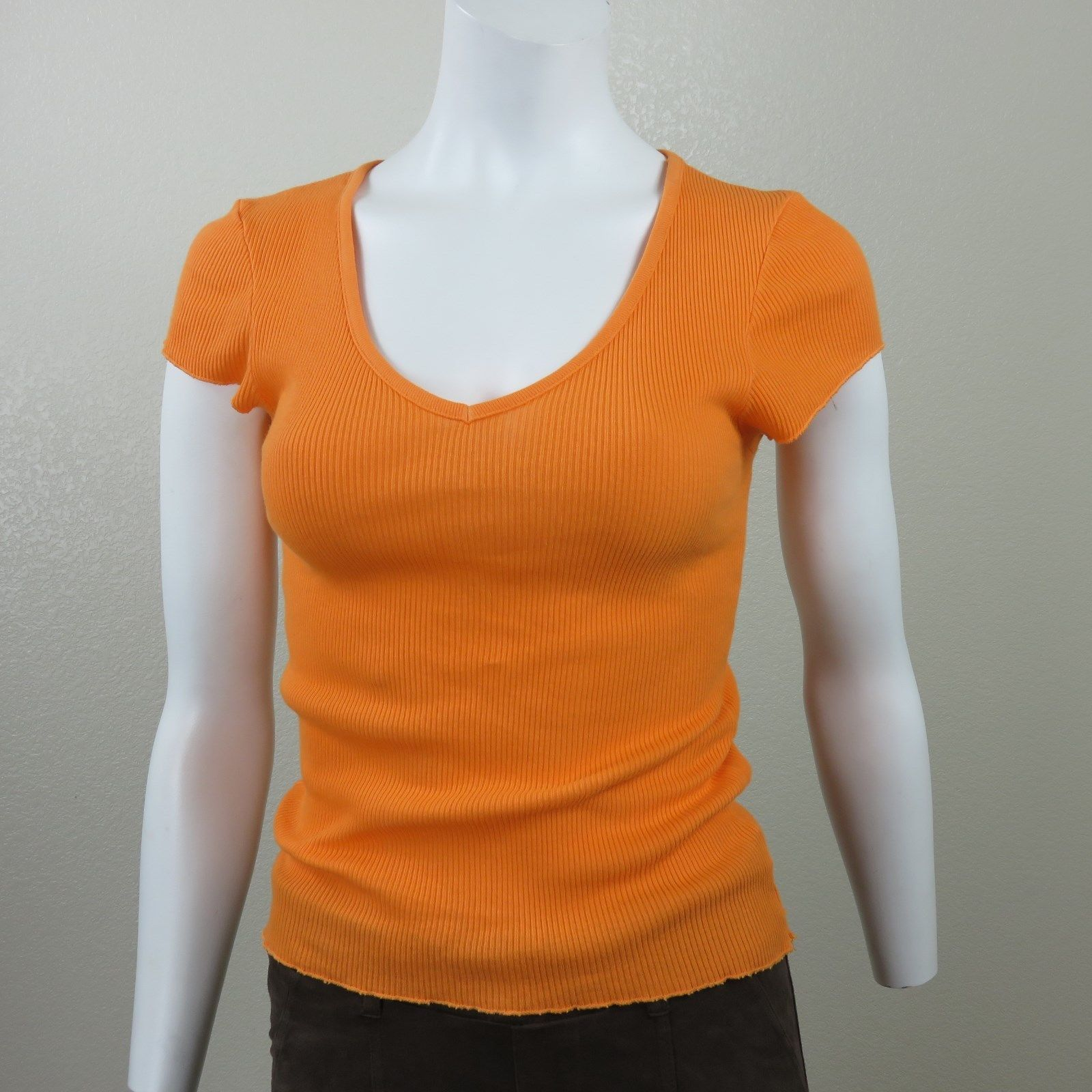 dbd8ecb745 S l1600. S l1600. Previous. New Michael Stars Orange Stretch Cotton Tee Top  One Size Fits Cap Sleeve ...
