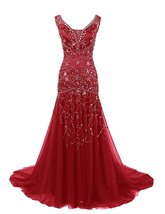 Mermaid V Neck Beaded Long Prom Dresses Tulle Formal Evening Dress,Party... - $179.00