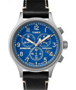 Timex Men's TW4B12400 Expedition Scout Chrono Black/Blue Leather Strap W... - $93.98