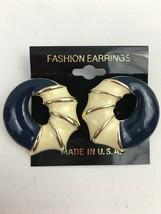 Vintage Round Scalloped Ring Enamel Pierced Earrings Navy Blue Gold Tone... - $9.84